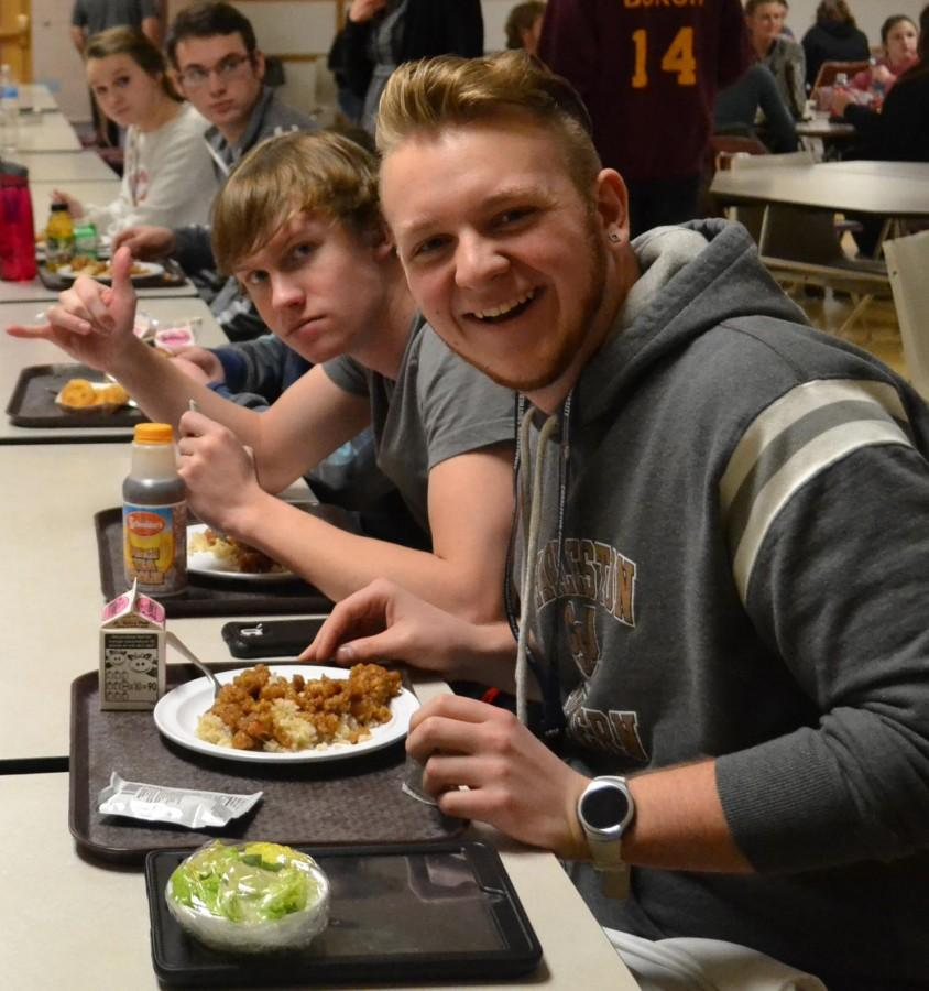 Seniors Chris Mackowski and Jacob Eeg enjoying the General Tso's Chicken
