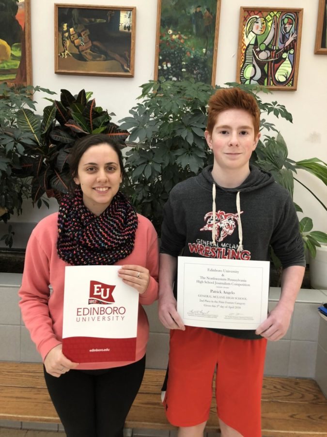 Akayla+Lewin+and+Patrick+Angelo+proudly+display+their+awards+from+Edinboro+University%27s+Northwestern+Pennsylvania%27s+Journalism+Day.
