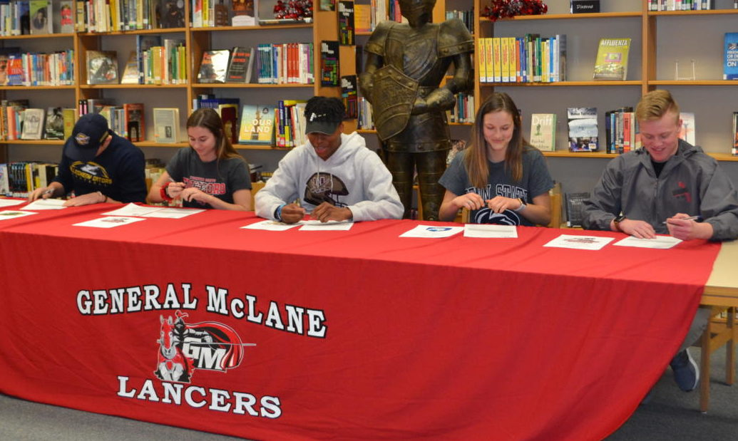 Jack Parker, Jennifer Stefano, Nasir Singelton, Ellec Scouten, and Jacob Timpano will continue their athletic careers at the college level.