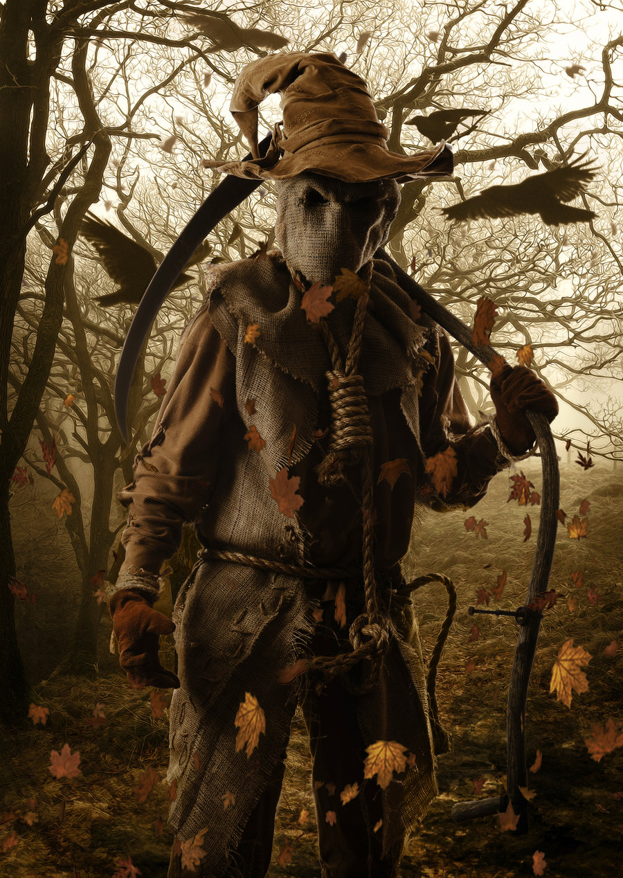 An example of an animate scarecrow, everything around him, dark and dreary.