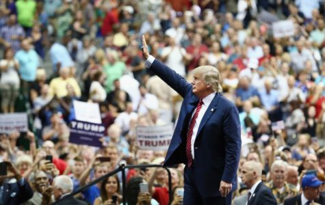 """""""President Trump greets his supporters at Erie Insurance Arena."""""""