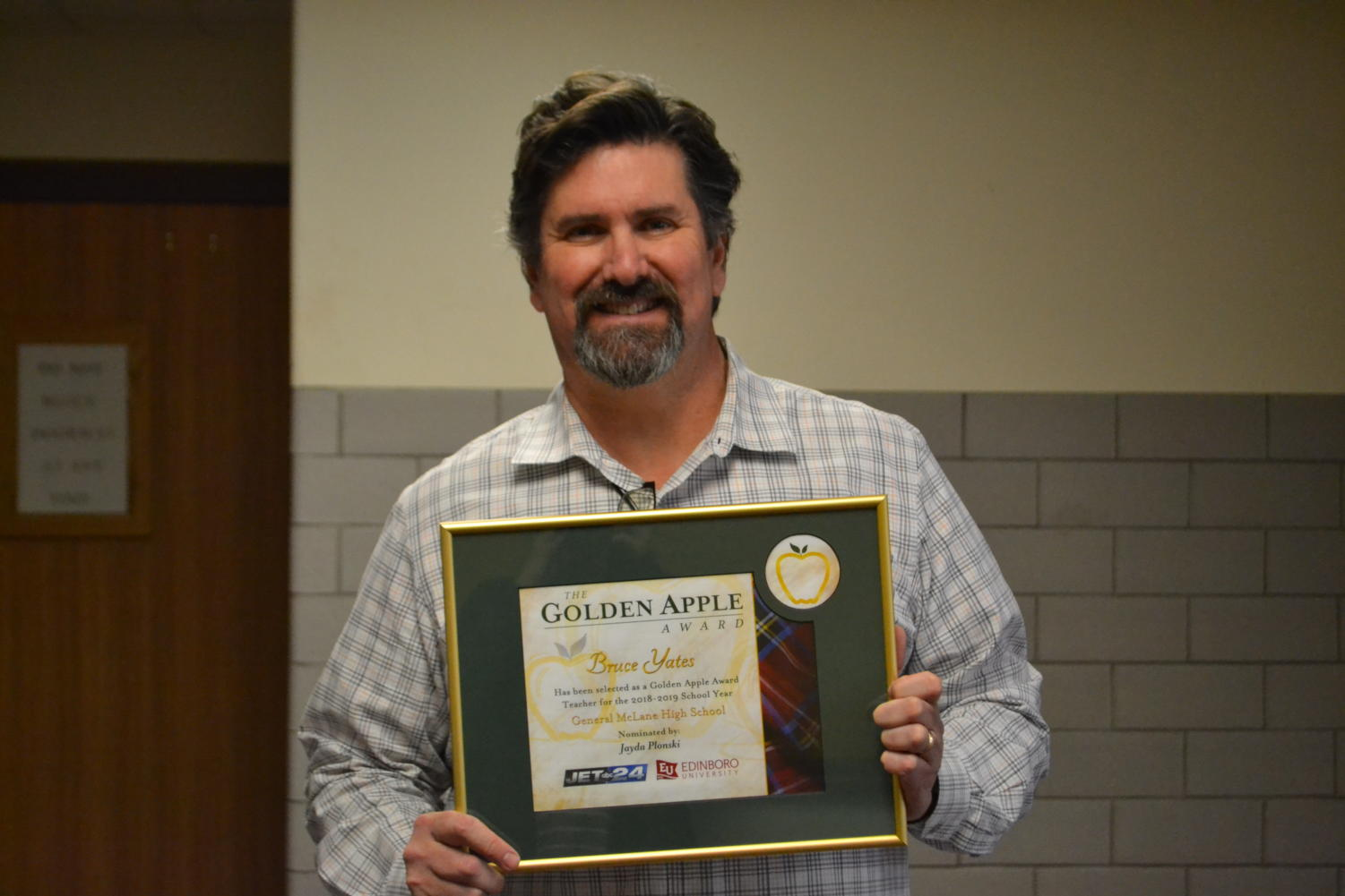 Mr. Yates and his Golden Apple Award