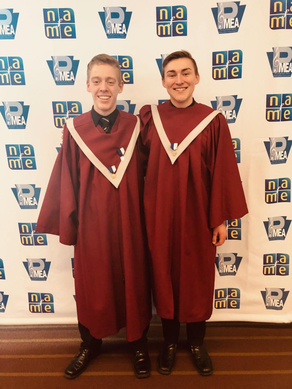 Kellen Smith and Sam Petkac pose at PMEA State Choir.