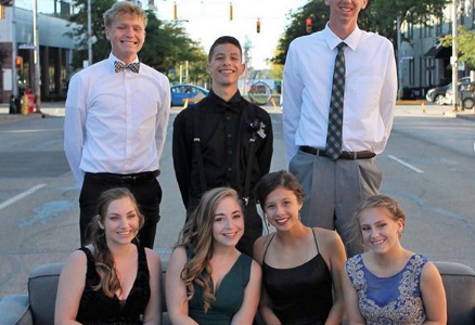 A homecoming group re-enacts
