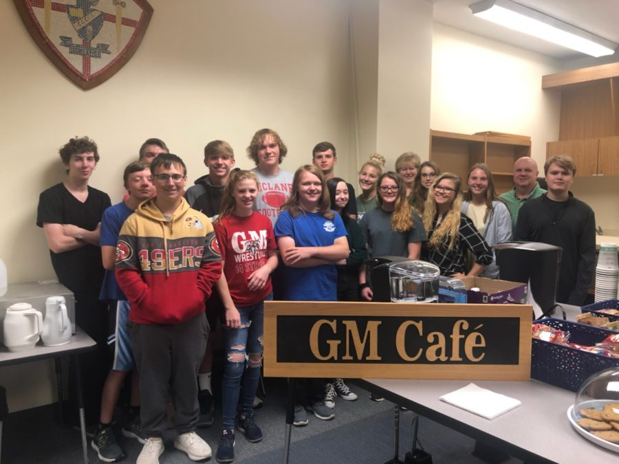 The students who run the GM Java Cafe along with Mr. Kane and Mrs. Kurczewski.