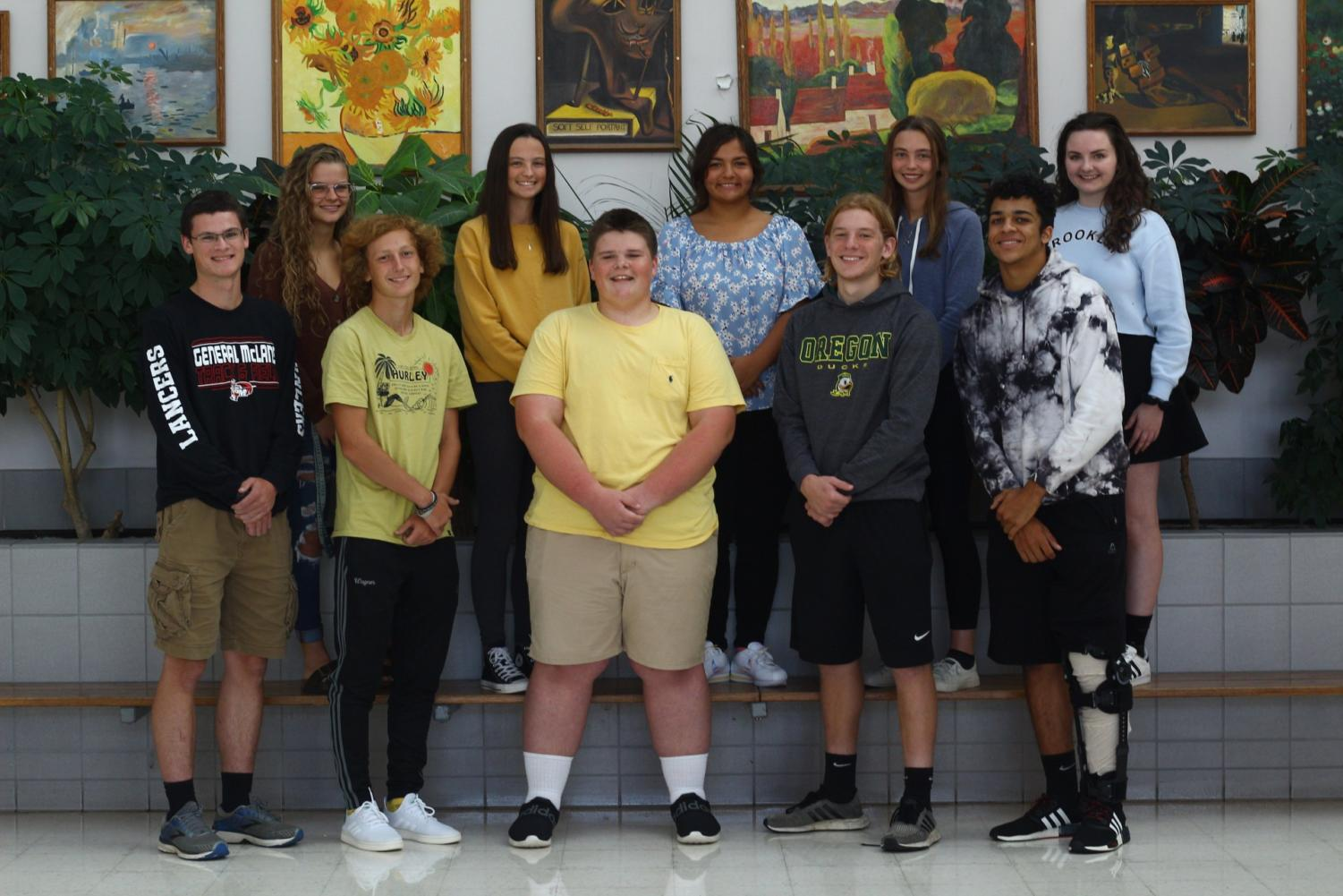 Tim Fair, Sam Wagner, Carter Willis, Jack Mennow, Ben Howe-Jones, Rachel Lesko, Amy Patterson, Della Mamani, Christine Patterson, and Cassidy Comer are the seniors voted to this year's Homecoming Court.