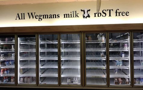 The empty milk case at Wegman's on Peach Street after the March 13 announcement that schools would be closed for two weeks.