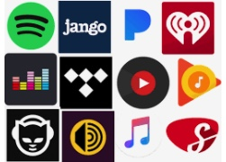 Popular music streaming apps.