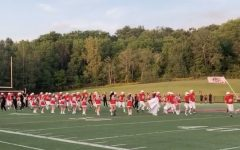 The band, cheerleaders, and football team on the first home game of 2020 the season.