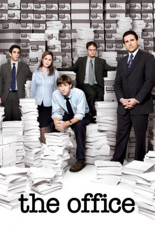 "Some characters from ""The Office"" starting with the left Ryan Howard (played by BJ Novak),  Pam Beesly (played by Jenna Fischer), Jim Halpert (played by John Krasinski), Dwight Schrute (played  by Rainn Wilson), and Michael Scott (played by Steve Carell)."