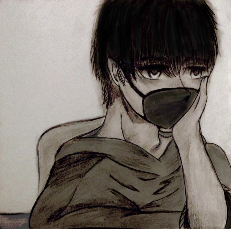 The picture is a drawing of a student wearing a mask and feeling somewhat depressed or gloomy.